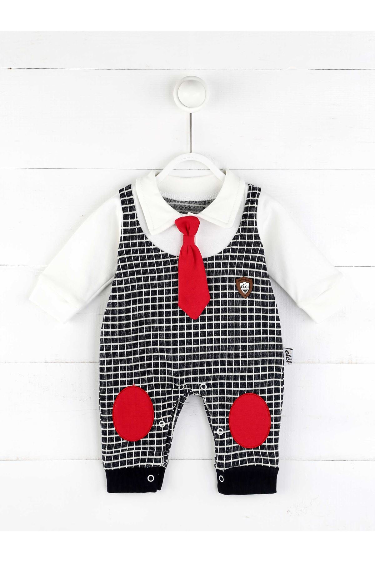 Lacivert Mevsimlik Erkek Bebek Kravatlı Tulum