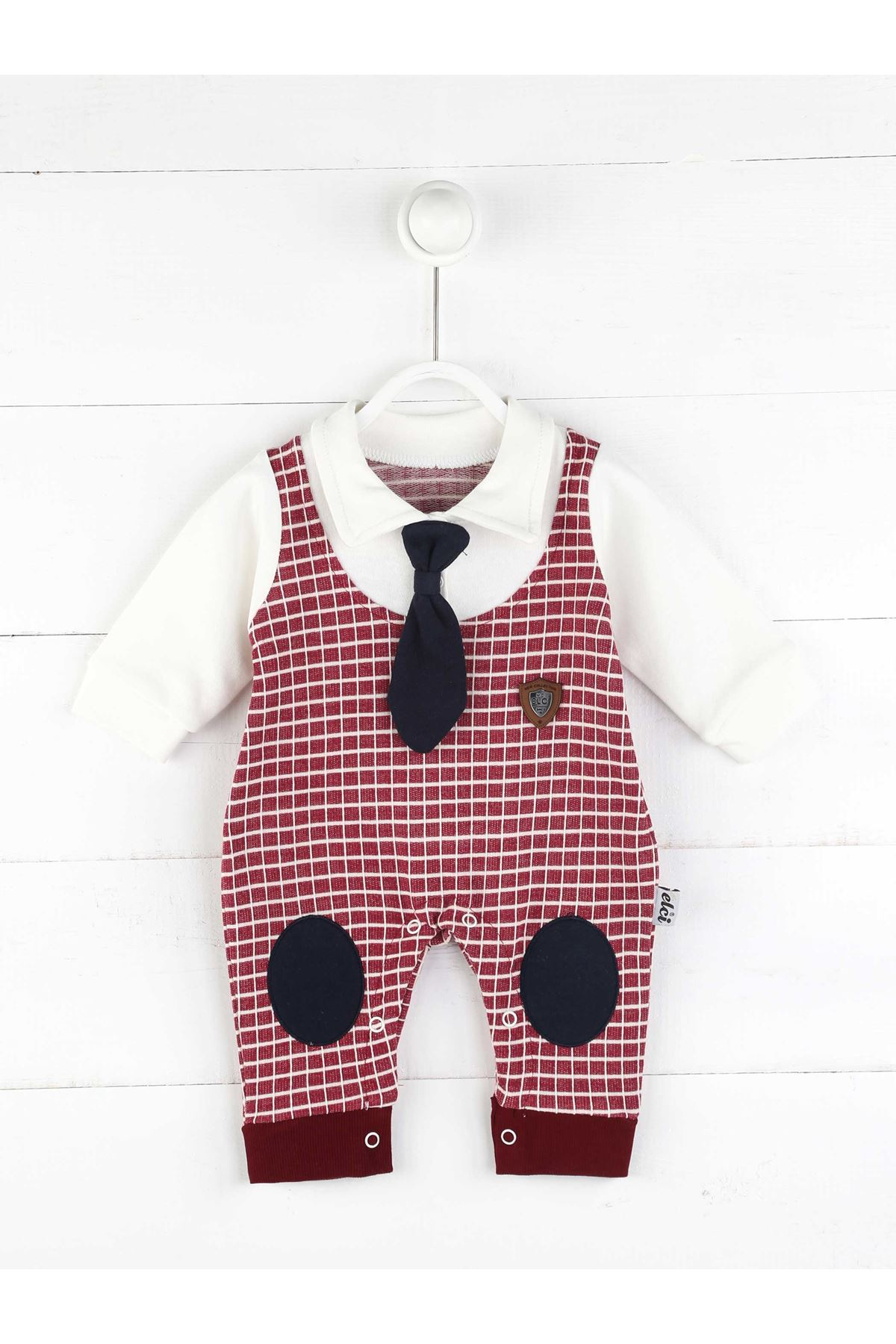 Bordo Mevsimlik Erkek Bebek Kravatlı Tulum