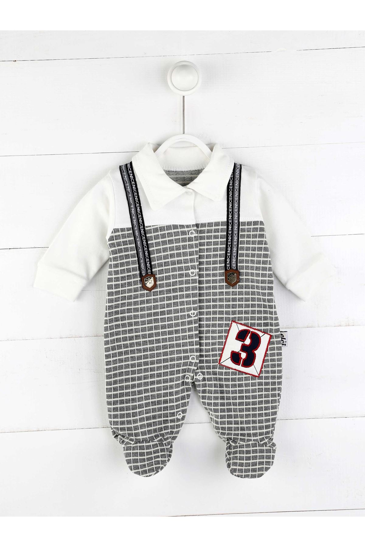 Gray Seasonal Baby Boy Rompers