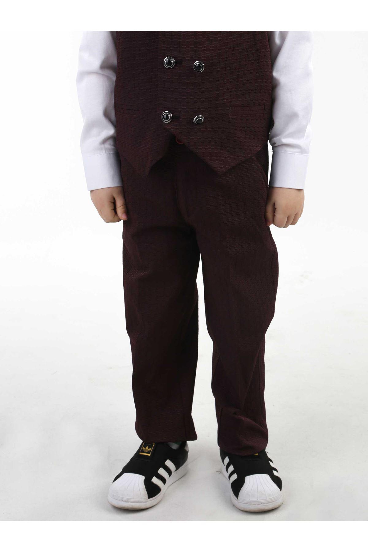 Bordo Yelekli Papyonlu Erkek Çocuk Takım Elbise