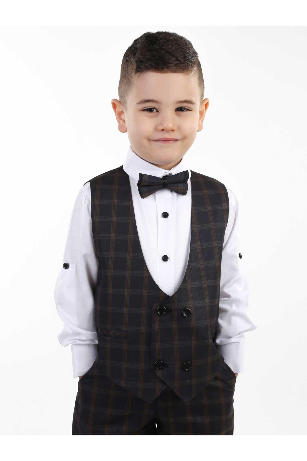 Boy's Clothes Suits Gentleman Bow Tie + Shirt + Pants + Vest Gentleman Clothing Young Suit