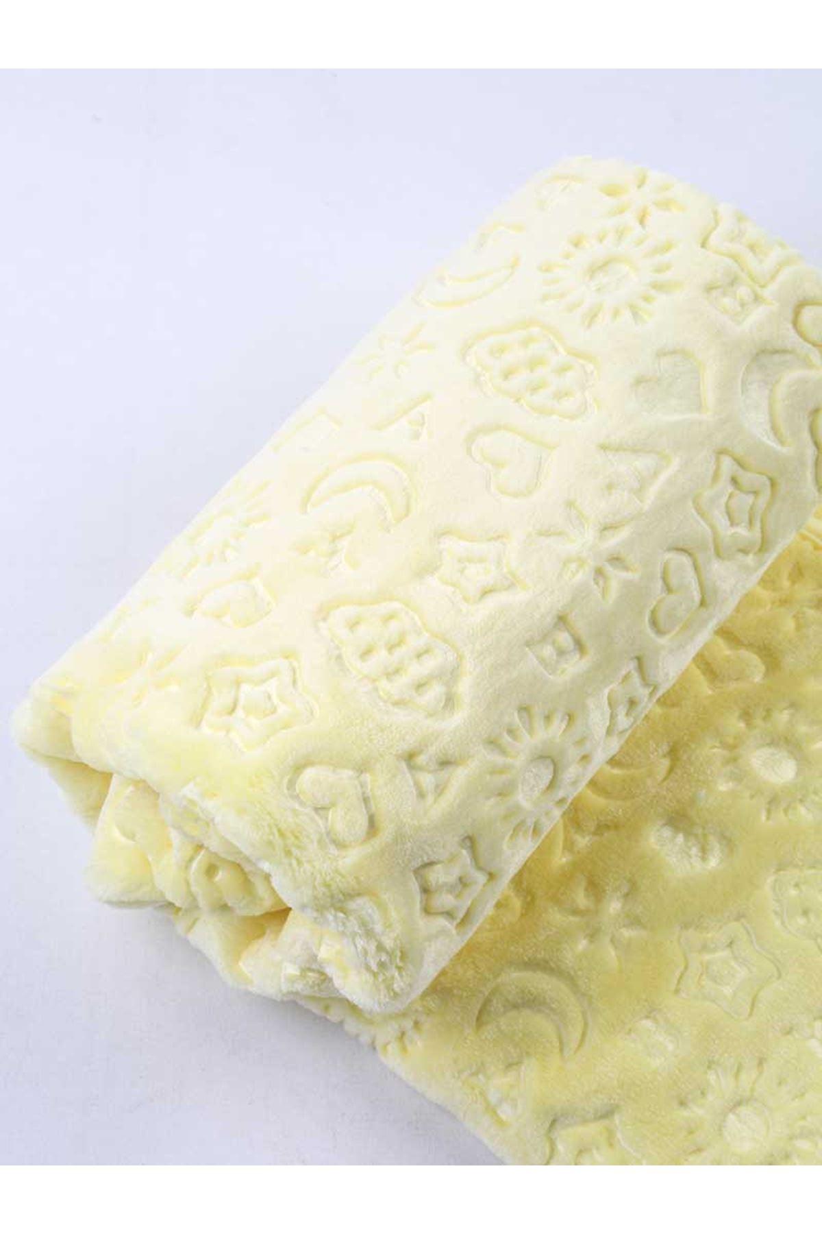 Sarı Peluş 120x100 cm Bebek Battaniye