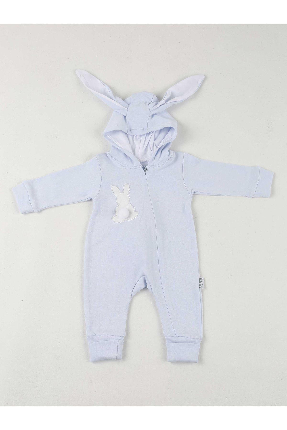 Mavi Tavşan Kulaklı Ponponlu Bebek Tulum