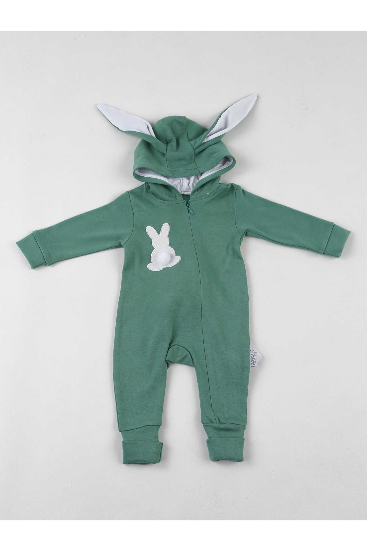Green Eared Rabbit Pompom Baby Jumpsuit
