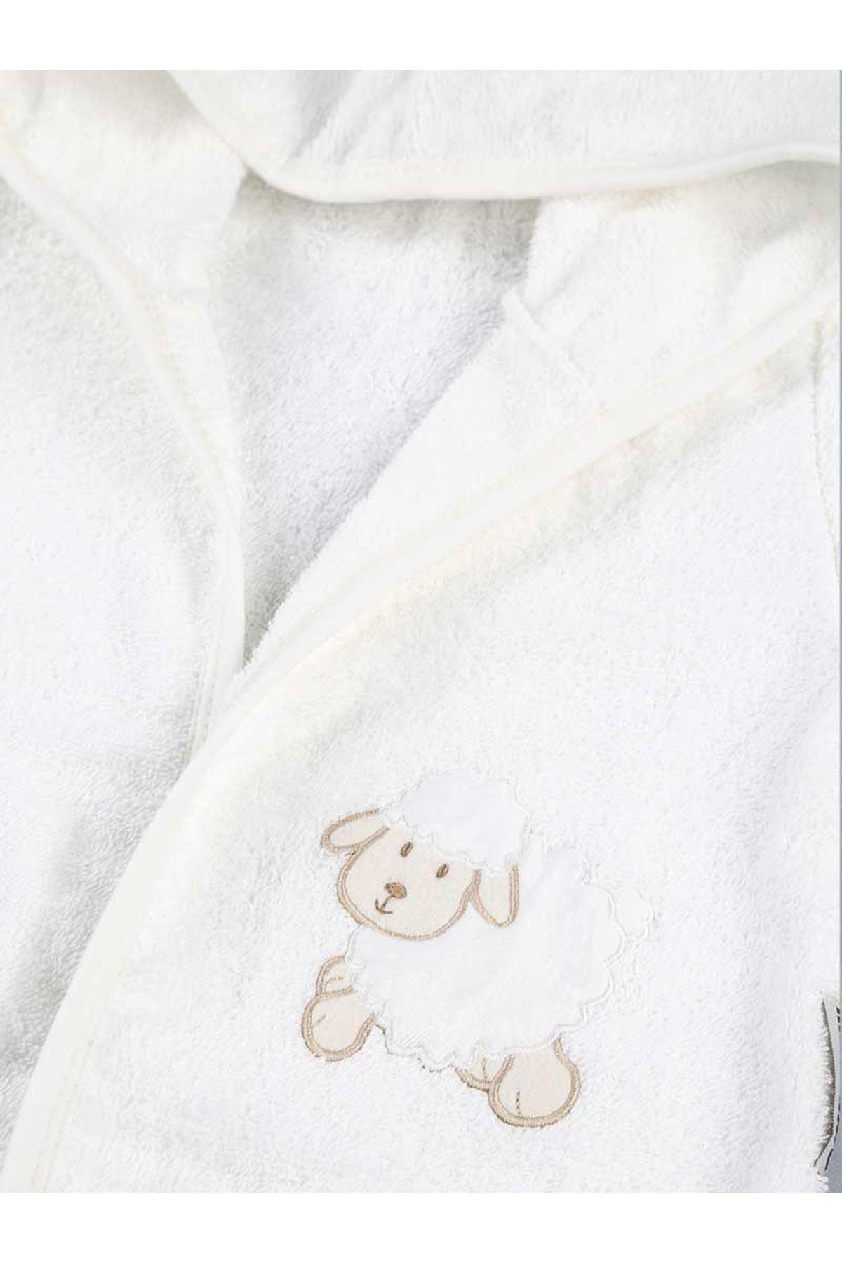 Mavi Pamuklu Erkek Bebek Havlu Bornoz Seti