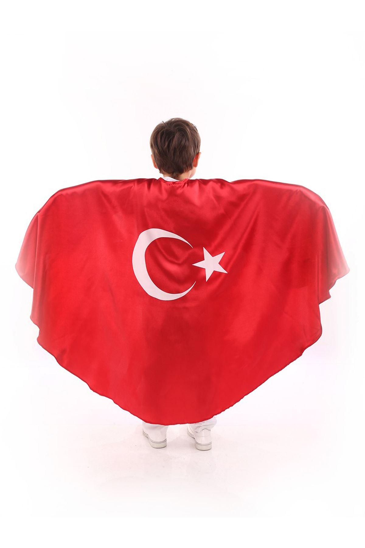 Kırmızı Ay Yıldızlı Bayrak Pelerin