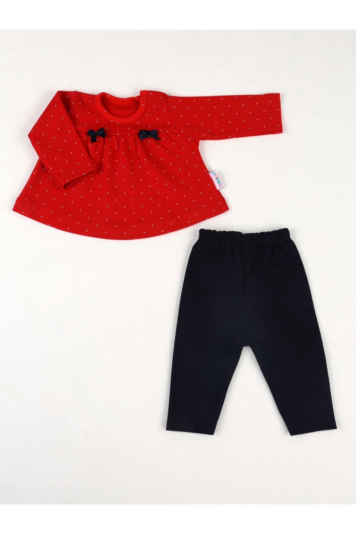 Kırmızı Mevsimlik Kız Bebek 2 li Takım