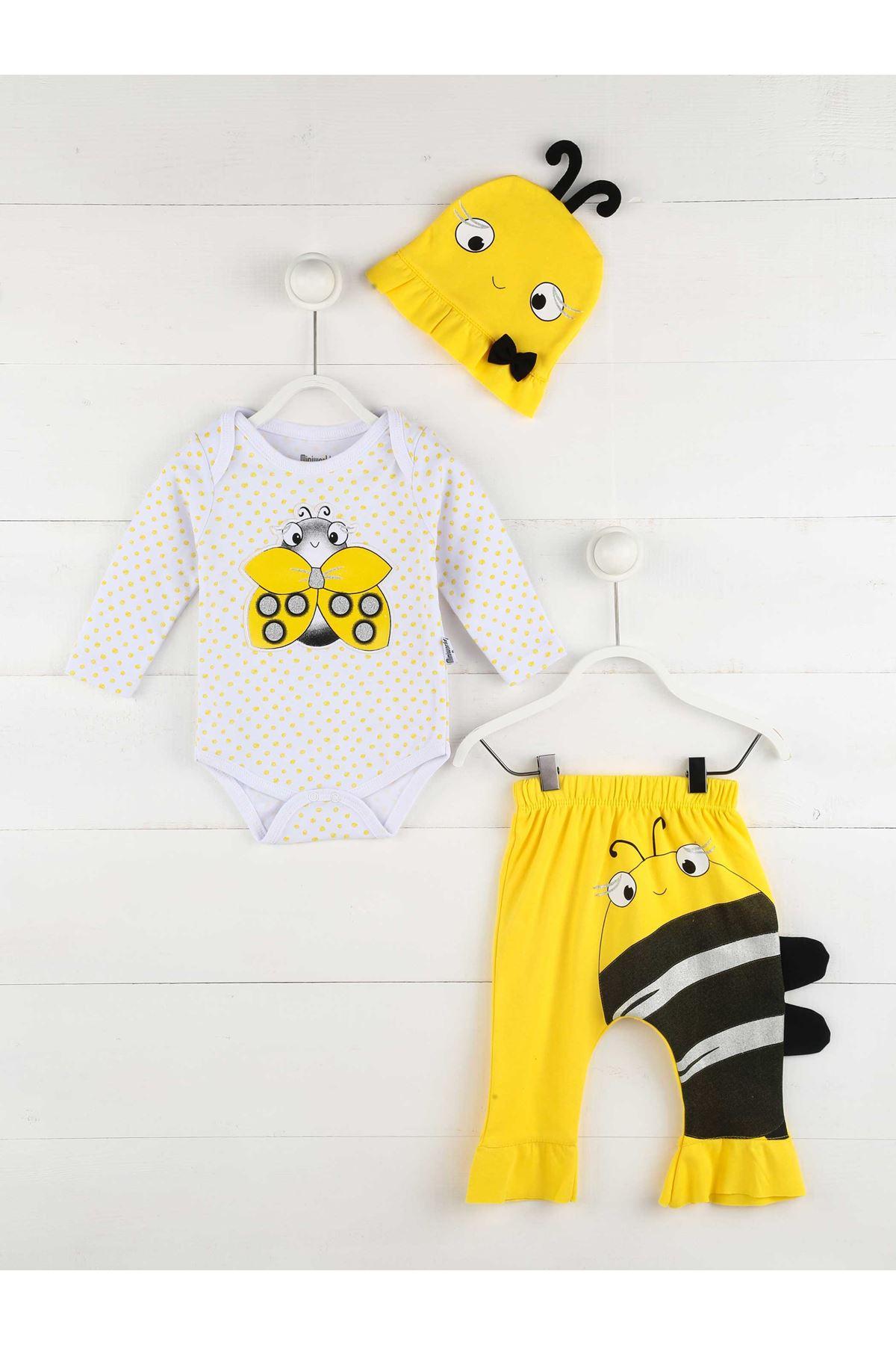 Sarı Mevsimlik Kız Bebek 3 lü Takım