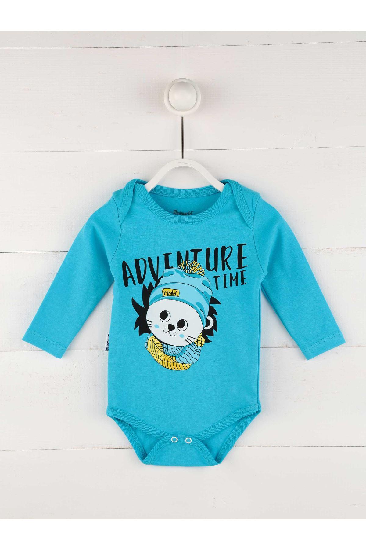 Mavi Mevsimlik Erkek Bebek 3 lü Zıbın Takım