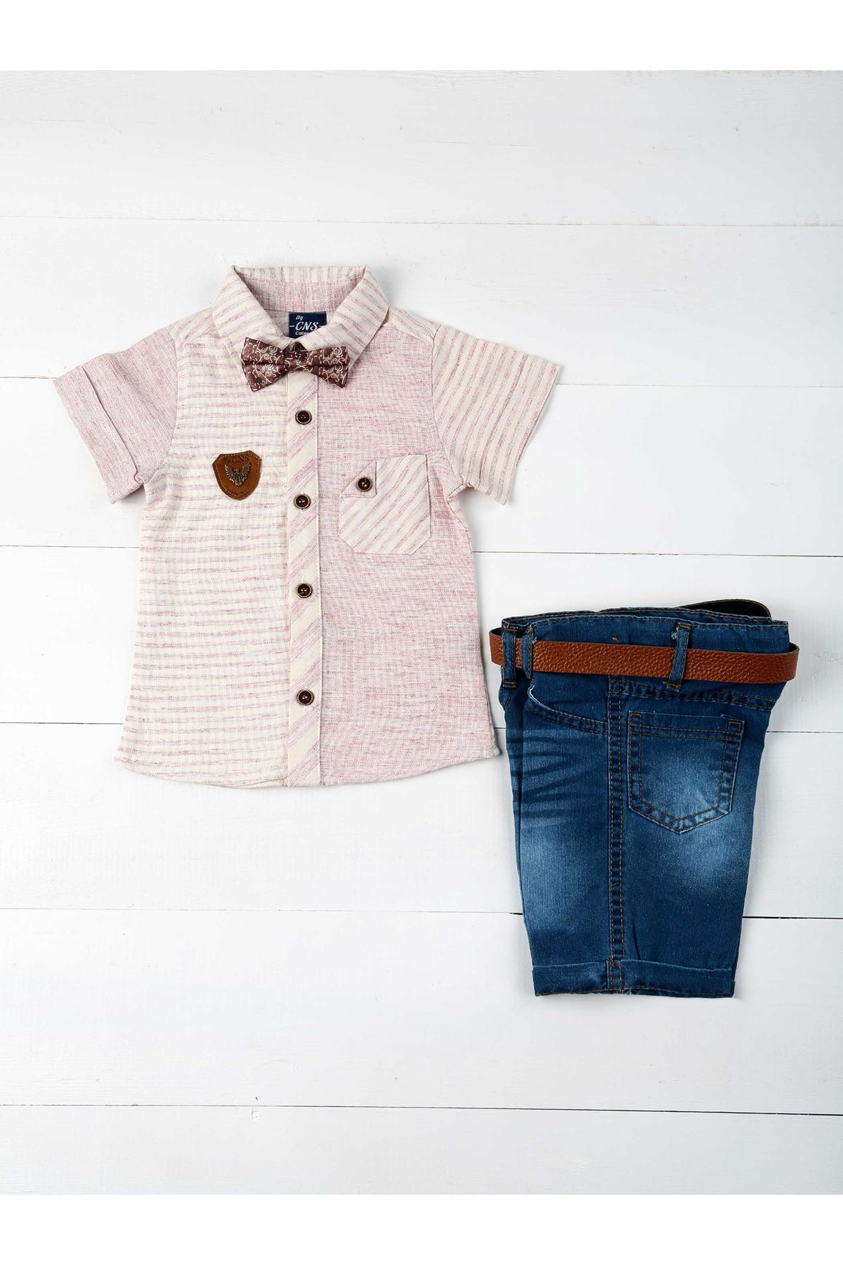 Cream Blue Summer Boy 4-piece Set