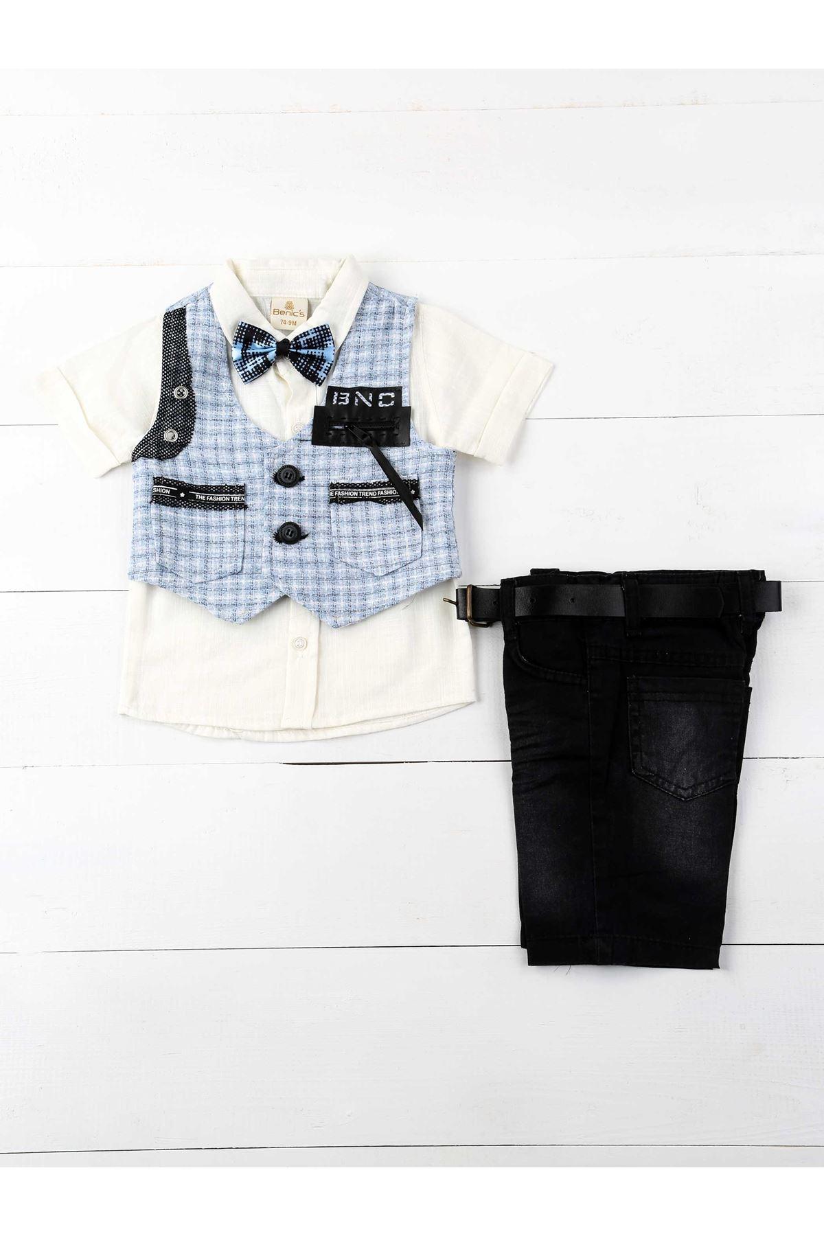 Mavi Yazlık Erkek Bebek 5 li Takım