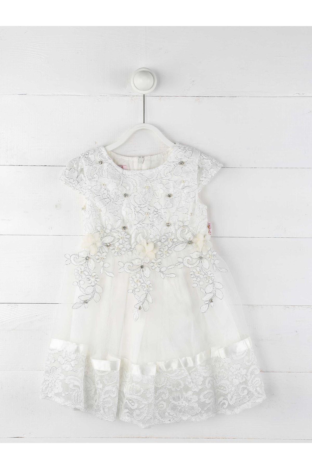 Beyaz Kız Çocuk Abiye Elbise