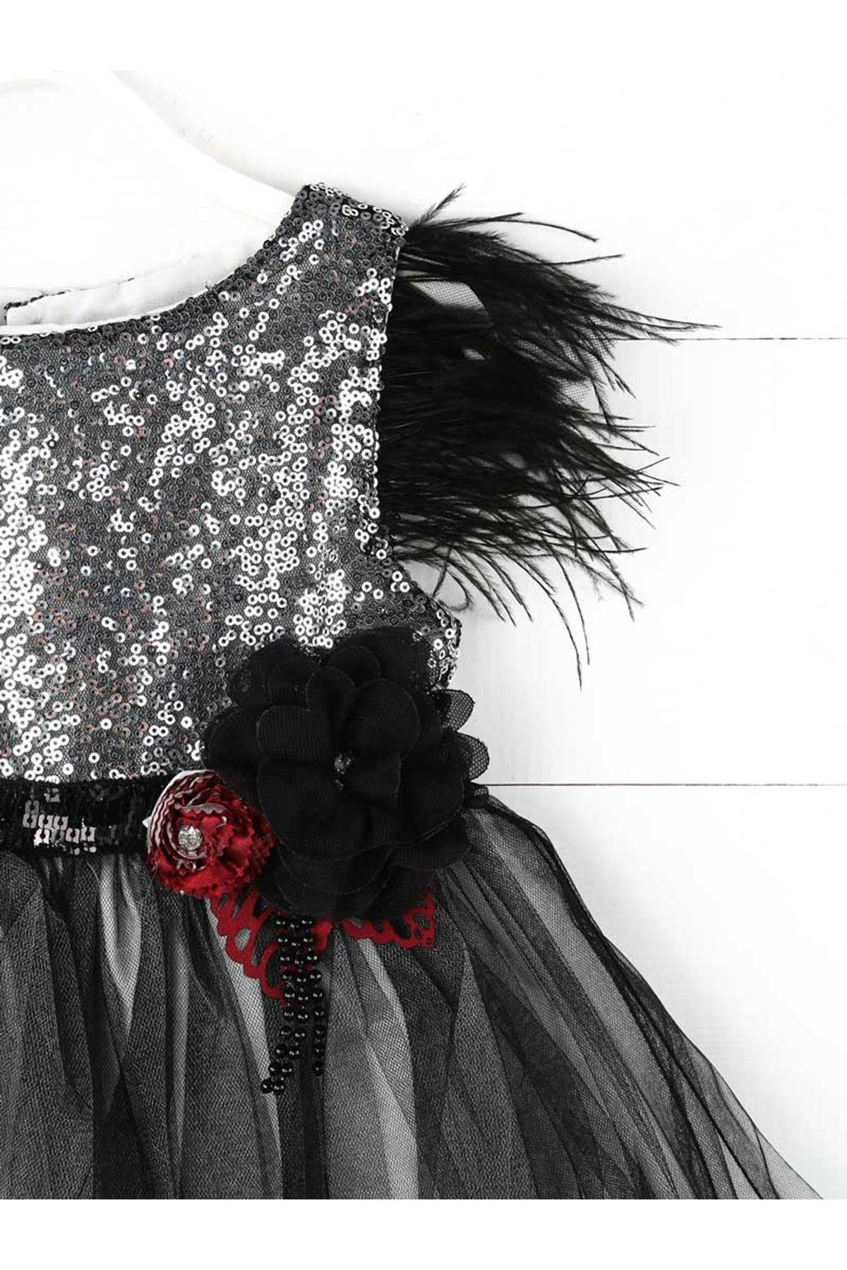 Gri Siyah Pullu Payet Kız Çocuk Abiye Elbise