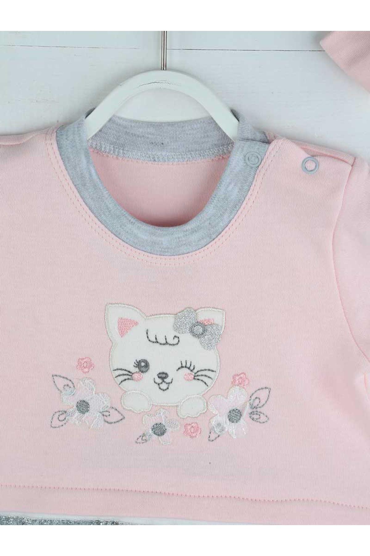 Pembe Yazlık Kız Bebek Bandanalı Tulum