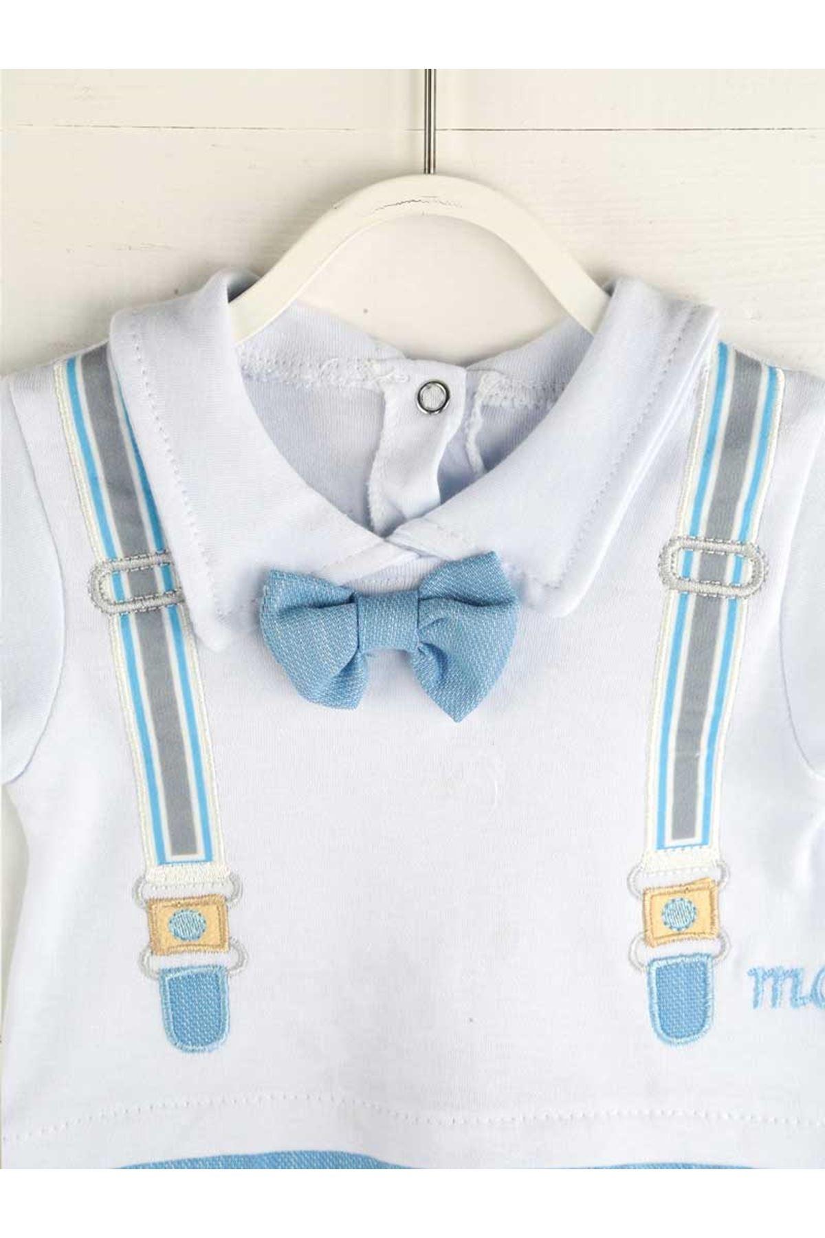 Mavi Yazlık Papyonlu Erkek Bebek  Tulum