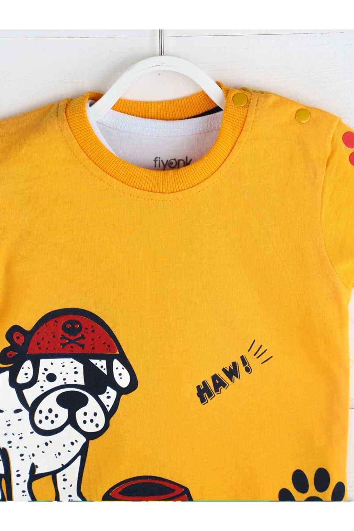 Sarı Yazlık Erkek Bebek 3 lü Takım
