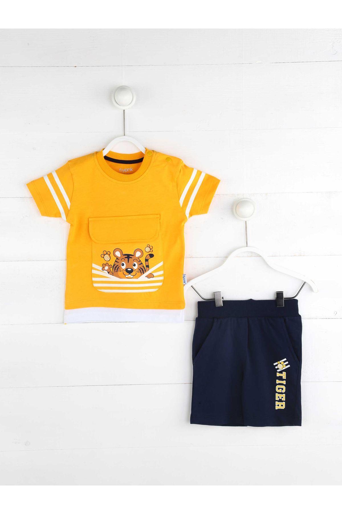 Sarı Yazlık Erkek Bebek Şortlu Takım