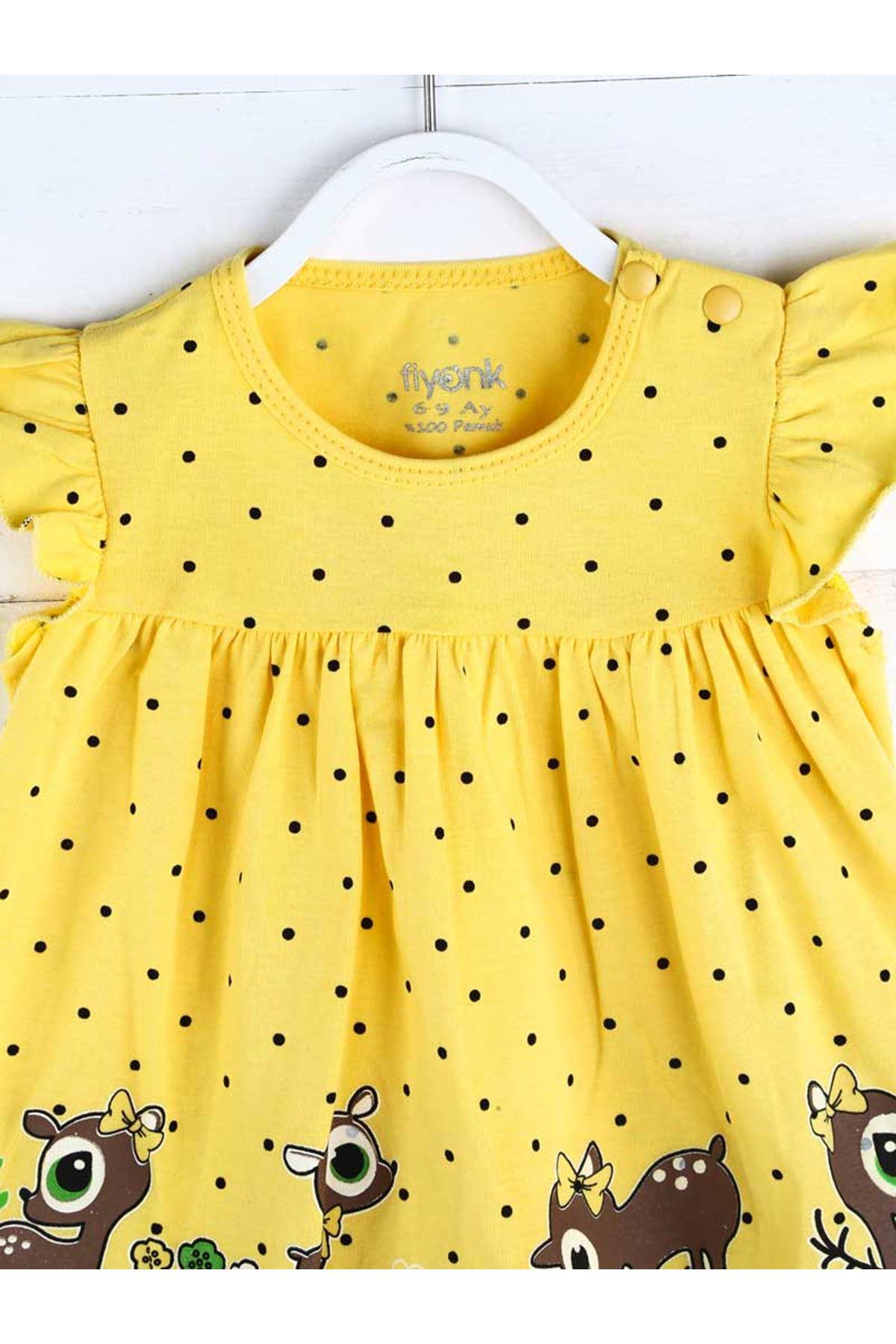 Sarı Yazlık Kız Bebek Taytlı Takım