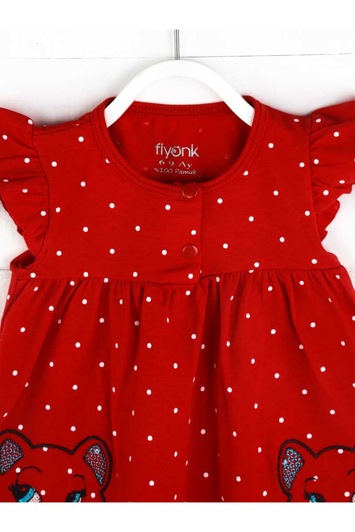 Kırmızı Yazlık Kız Bebek Taytlı Takım