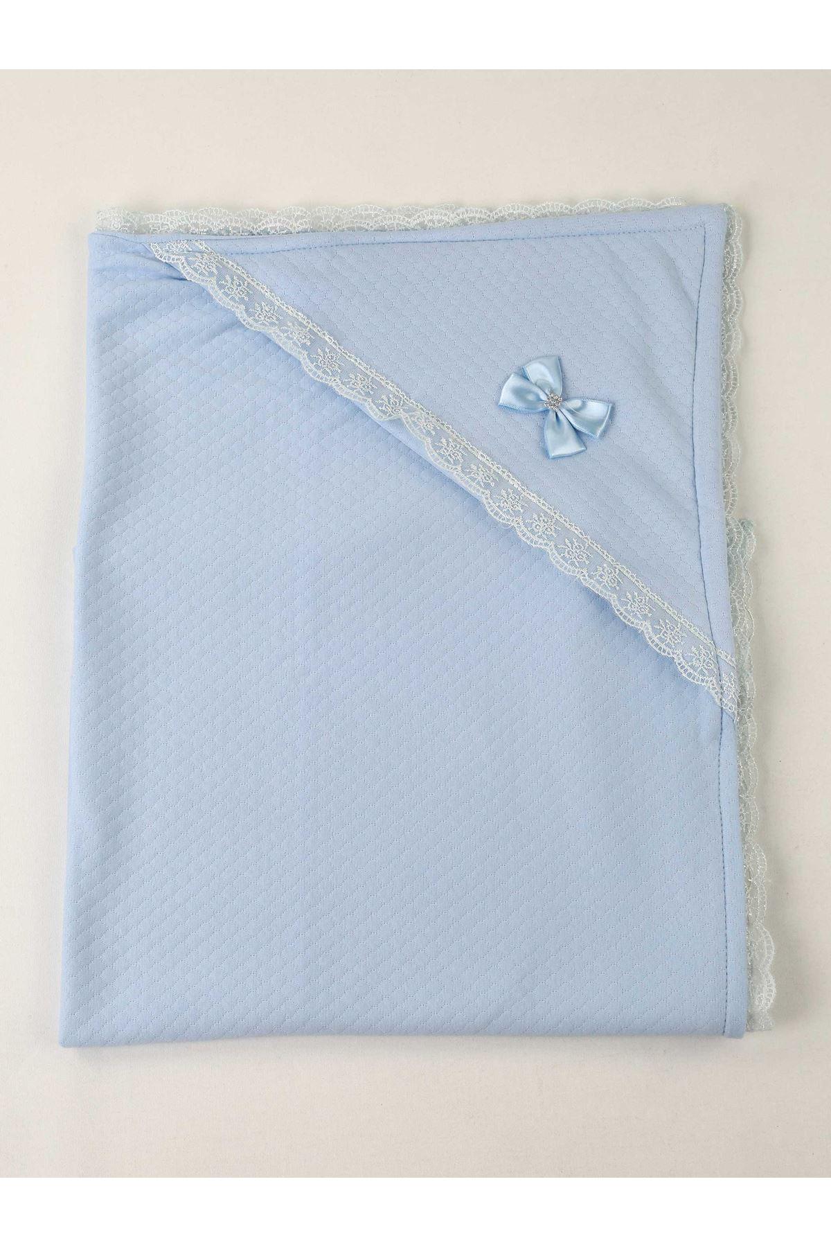 Mavi 85X85 cm  Erkek Bebek Kundak Battaniye