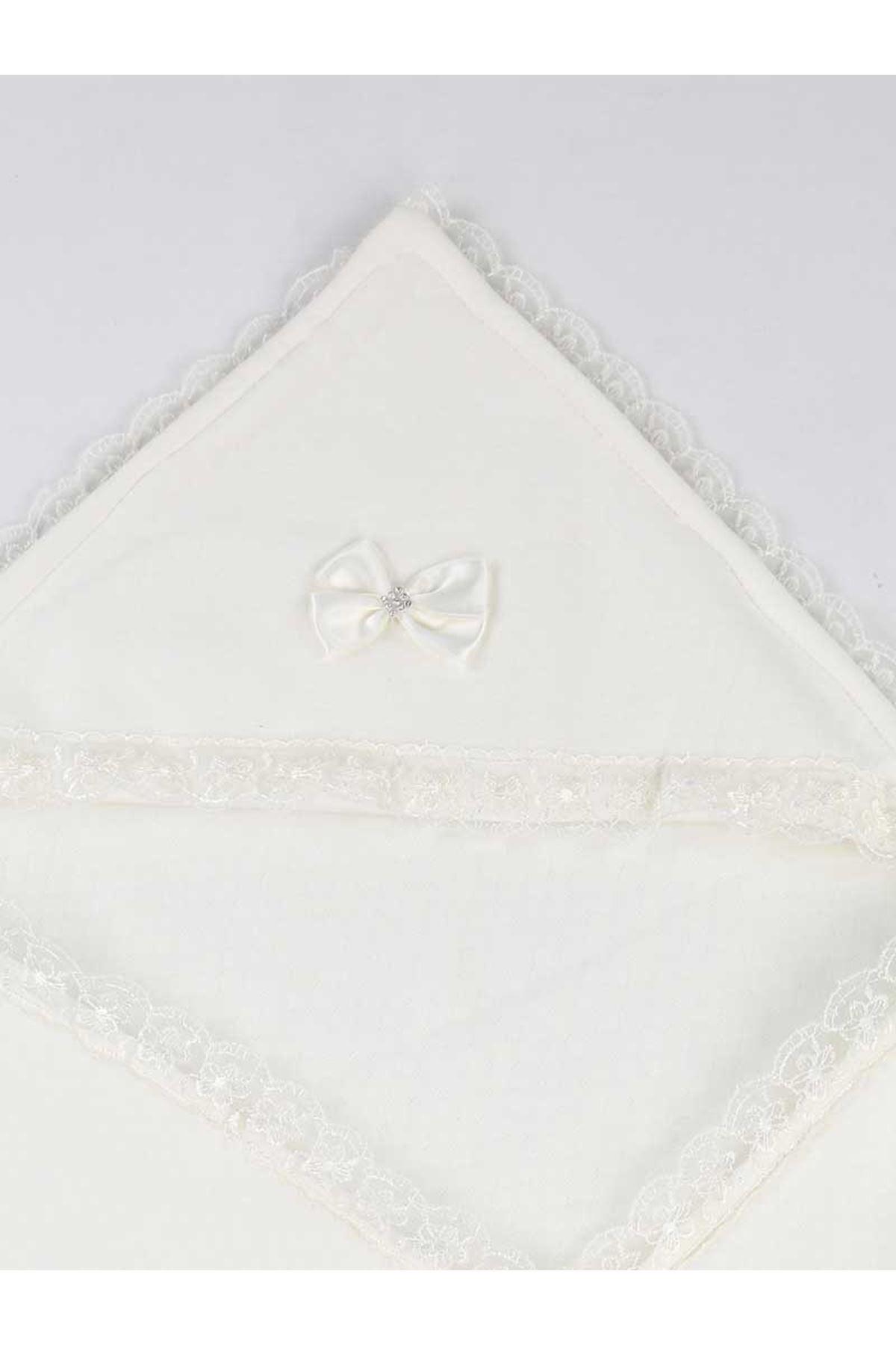 Beyaz 85X85 cm Bebek Kundak Battaniye