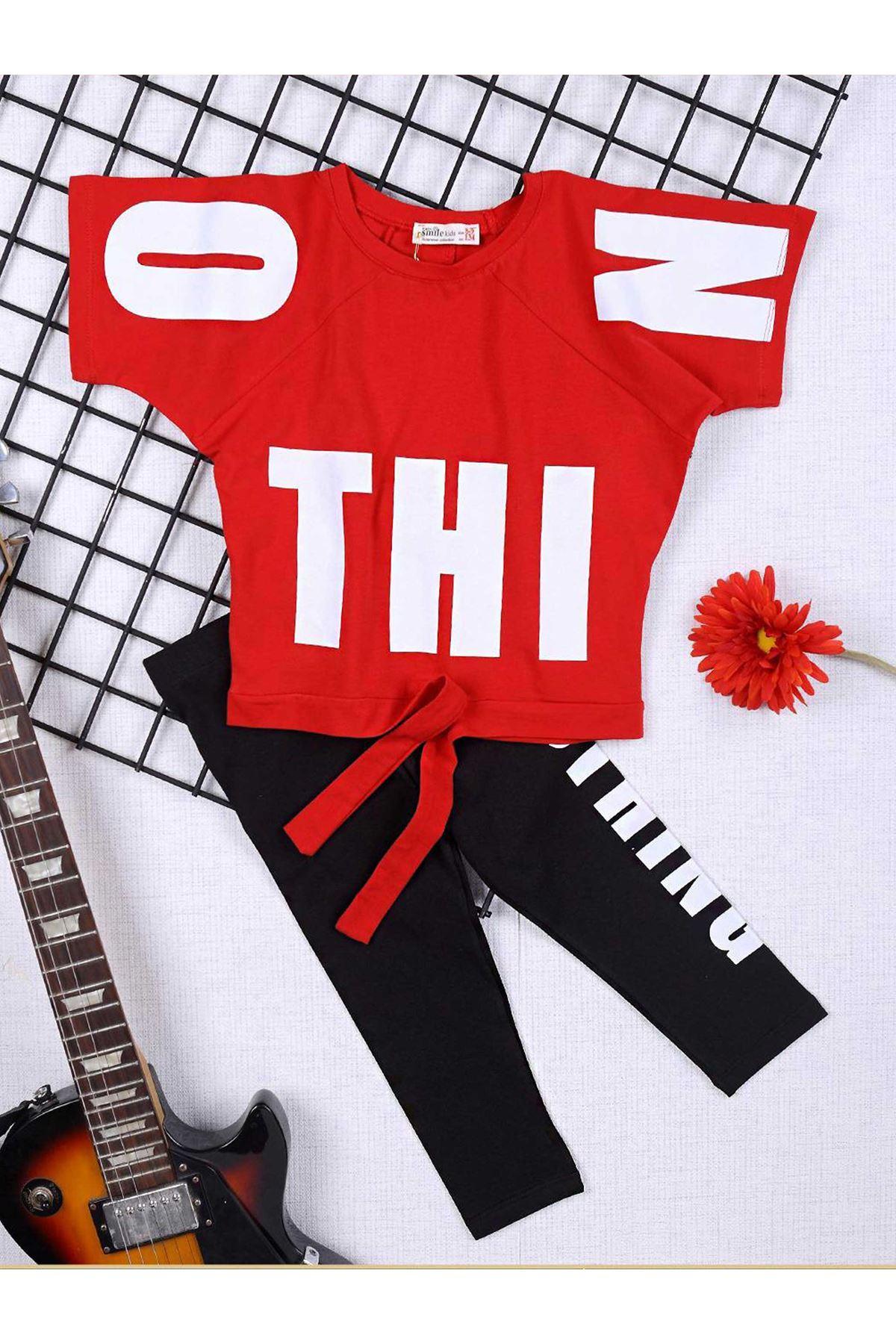 Kırmızı Yazlık Kız Çocuk Taytlı Takım