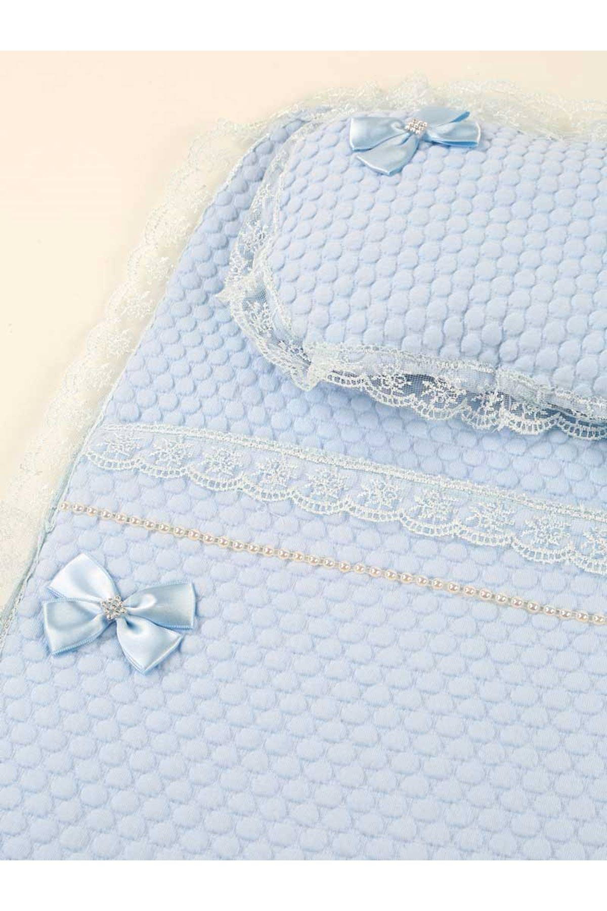 Blue Boys Baby White Swaddle Bottom Opening Set Newborn Cotton King Queen Boys Babies Male Clothes Comfortable Stroller Use View original title in English