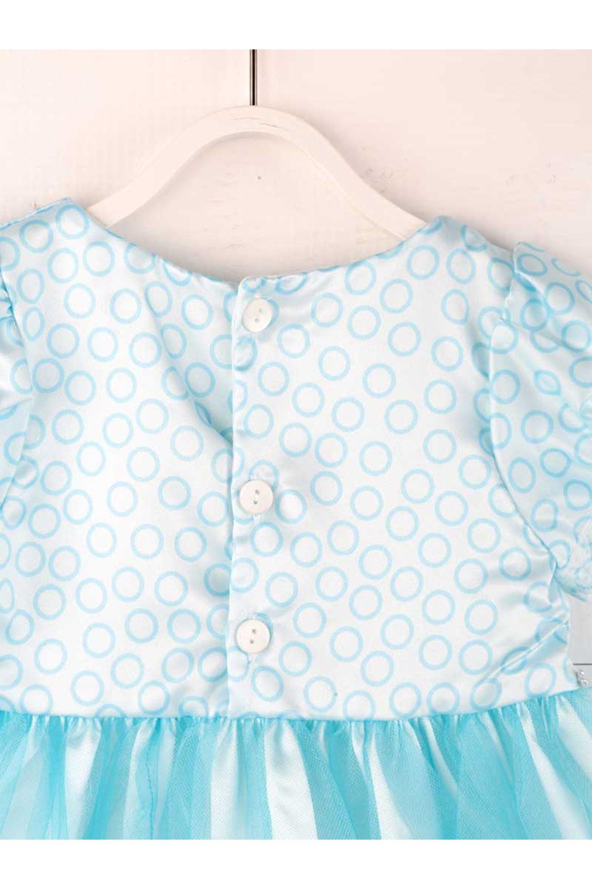 Mavi Tüllü Kız Çocuk Abiye Elbise