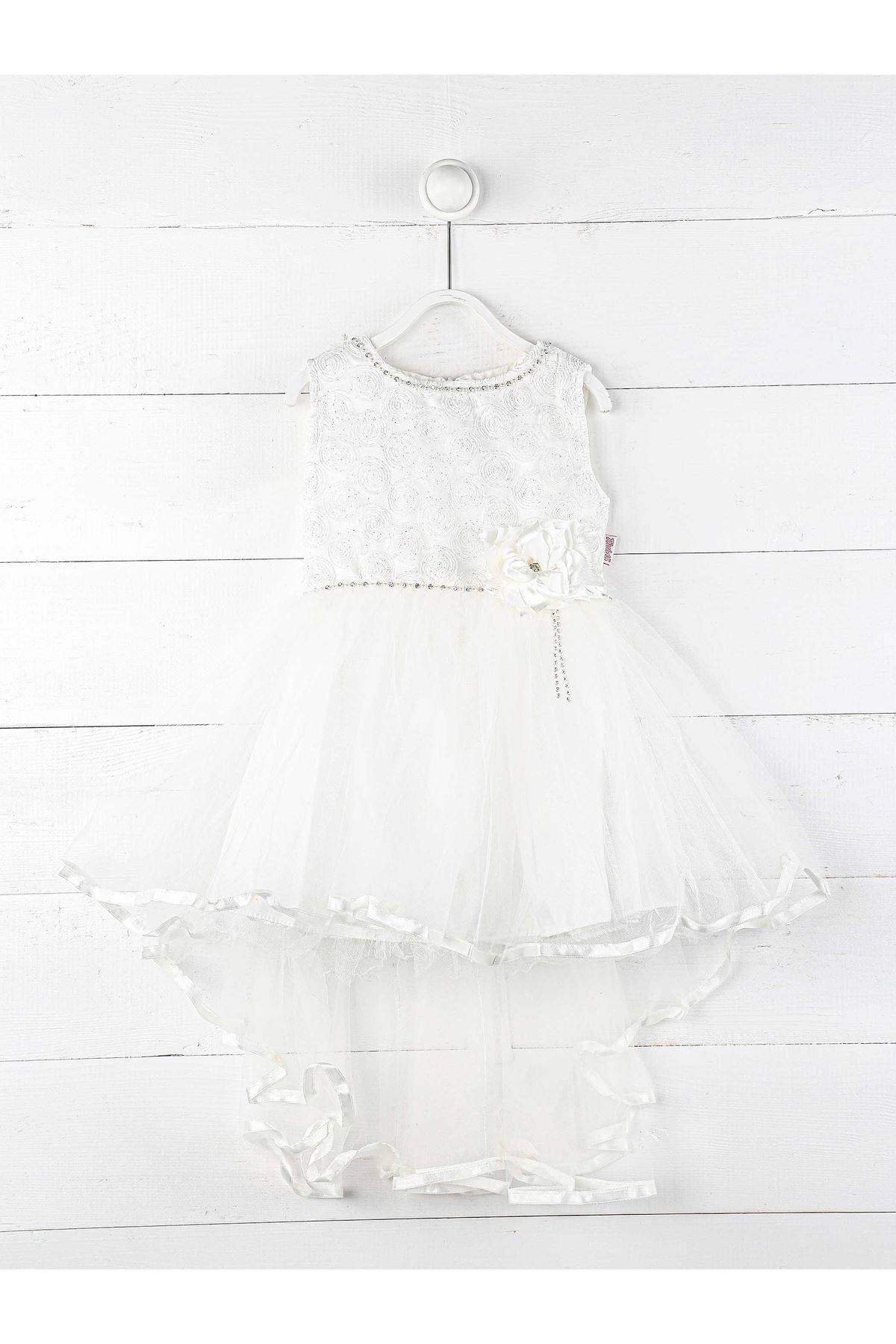 Beyaz Kız Çocuk Kuyruklu Abiye Elbise