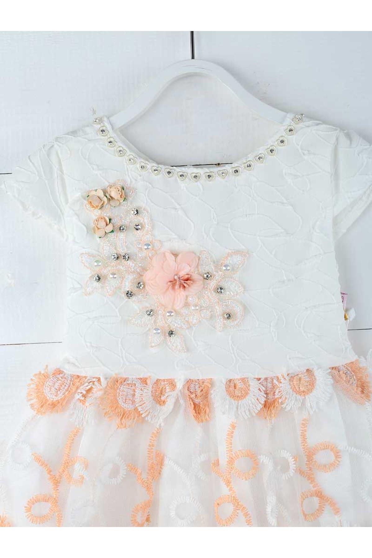 Beyaz Somon Kız Çocuk Abiye Elbise
