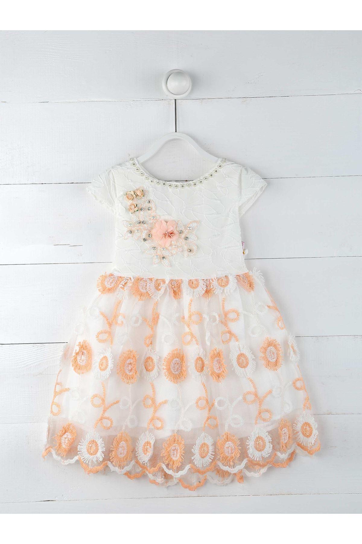 White Salmon Girl Kids Evening Gown