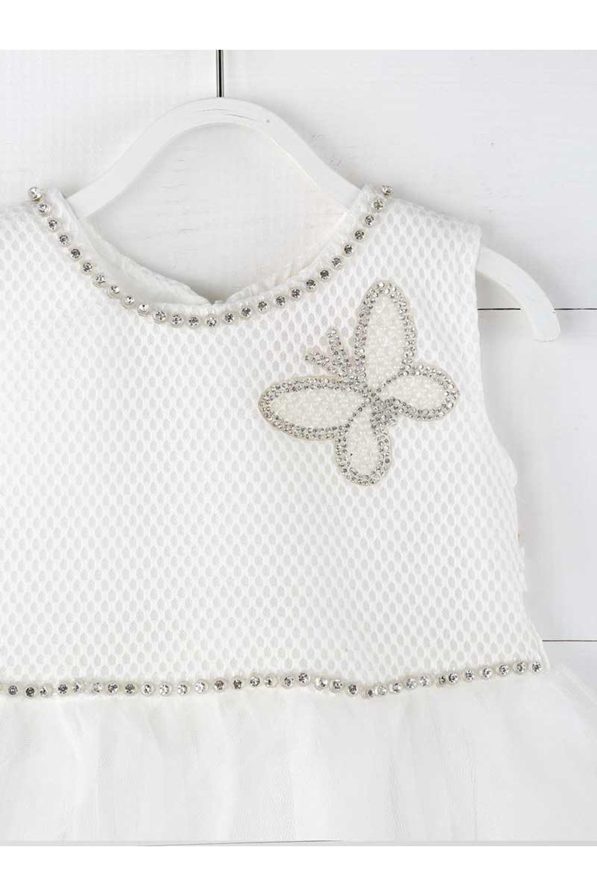 Beyaz Krem Kız Çocuk Abiye Elbise