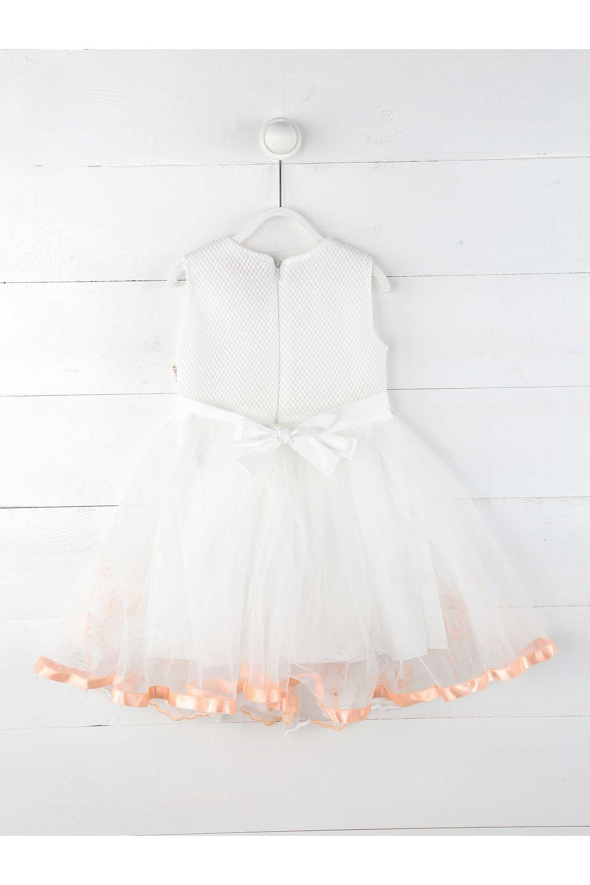 Pudra Beyaz Kız Çocuk Abiye Elbise