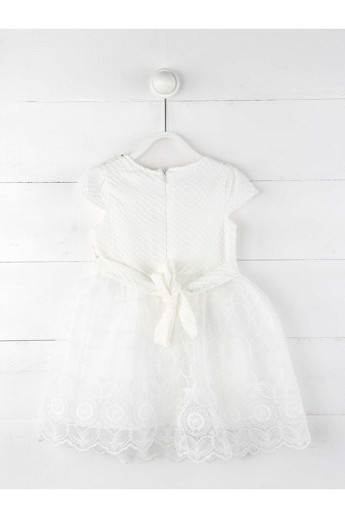 Beyaz Tüllü Kız Çocuk Abiye Elbise