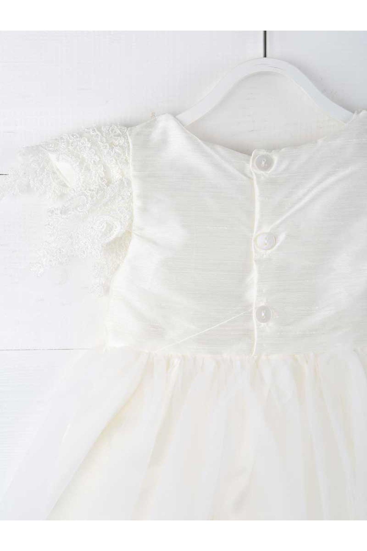 Krem Kız Çocuk Abiye Elbise