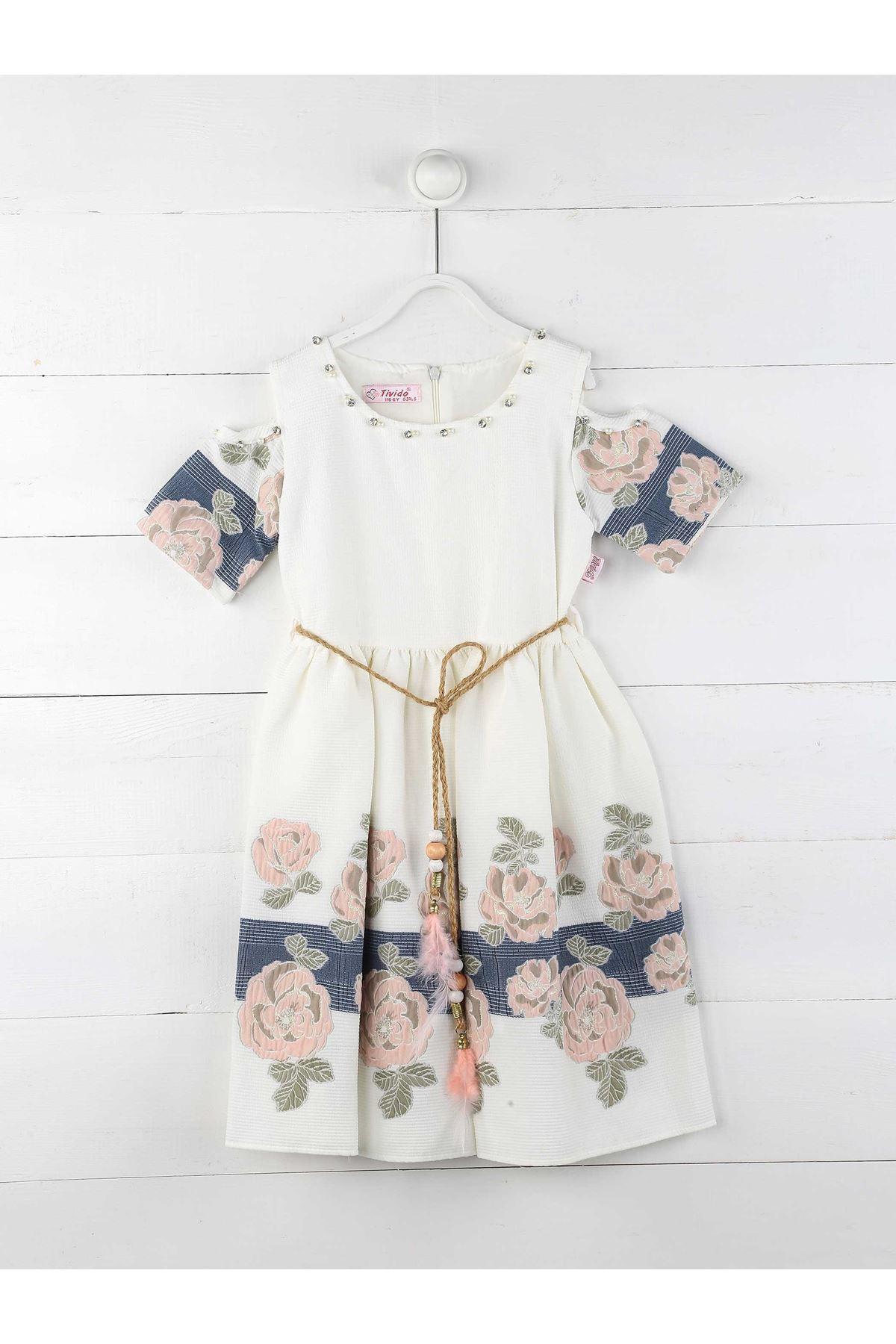 Beyaz Yazlık Kız Çocuk Elbise