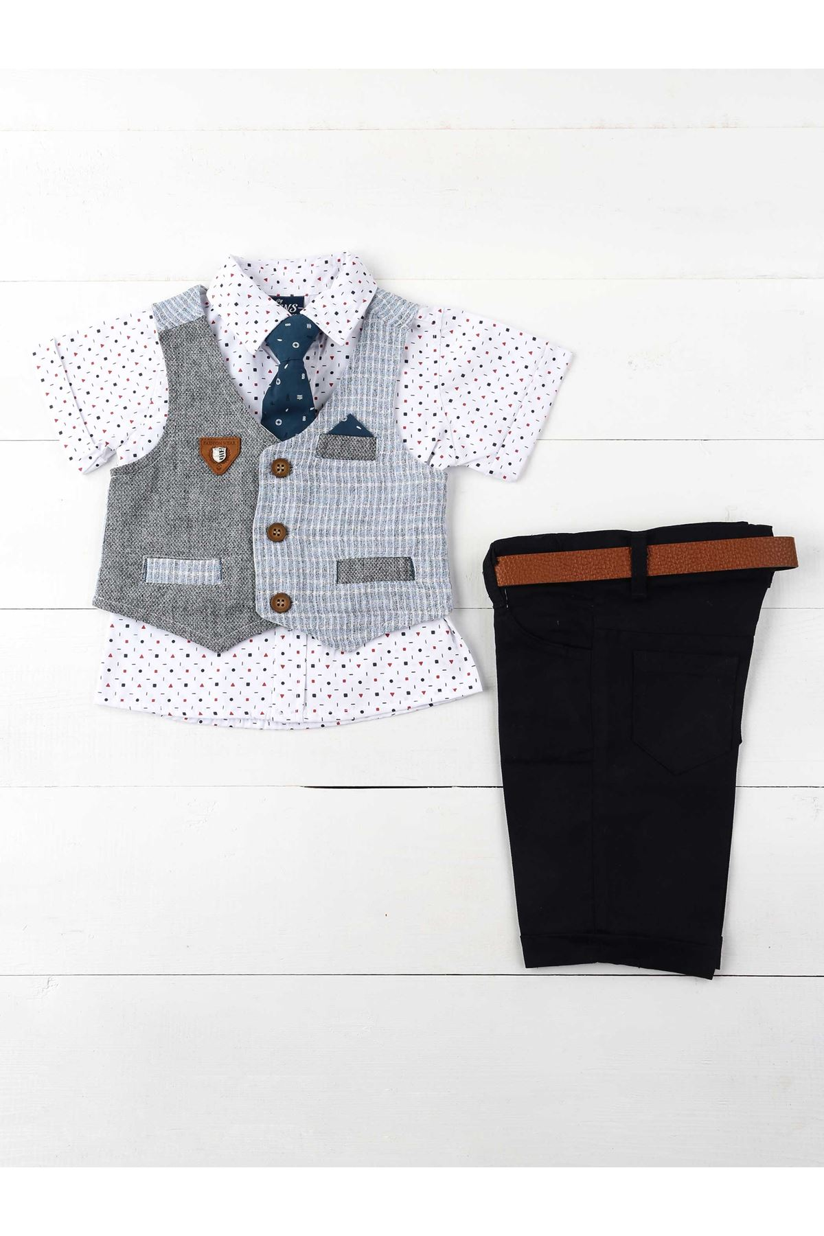 Navy blue White Male Child 5 Piece Suit