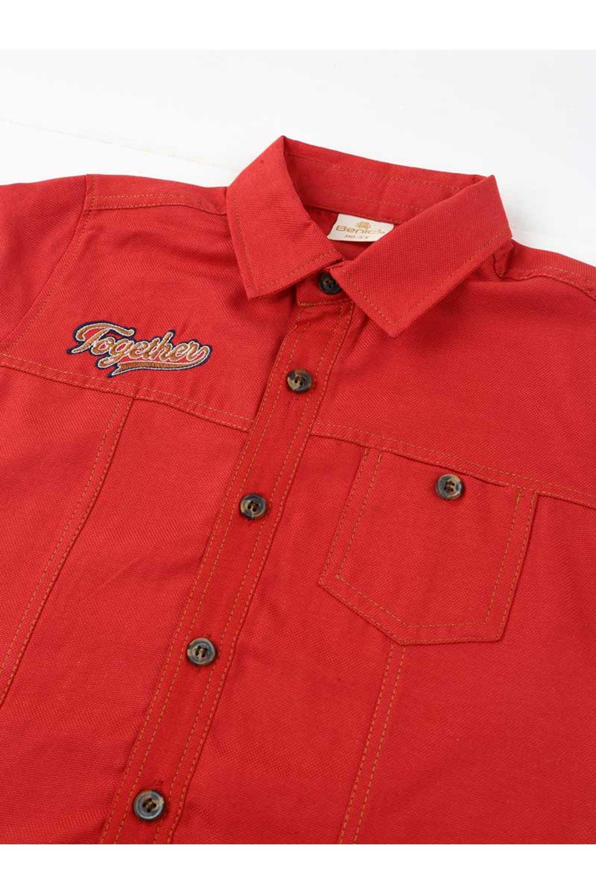 Kırmızı Erkek Çocuk Gömlek