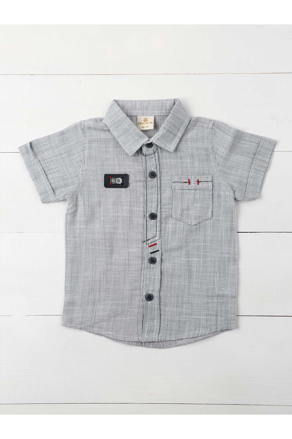 Gri Erkek Çocuk Gömlek