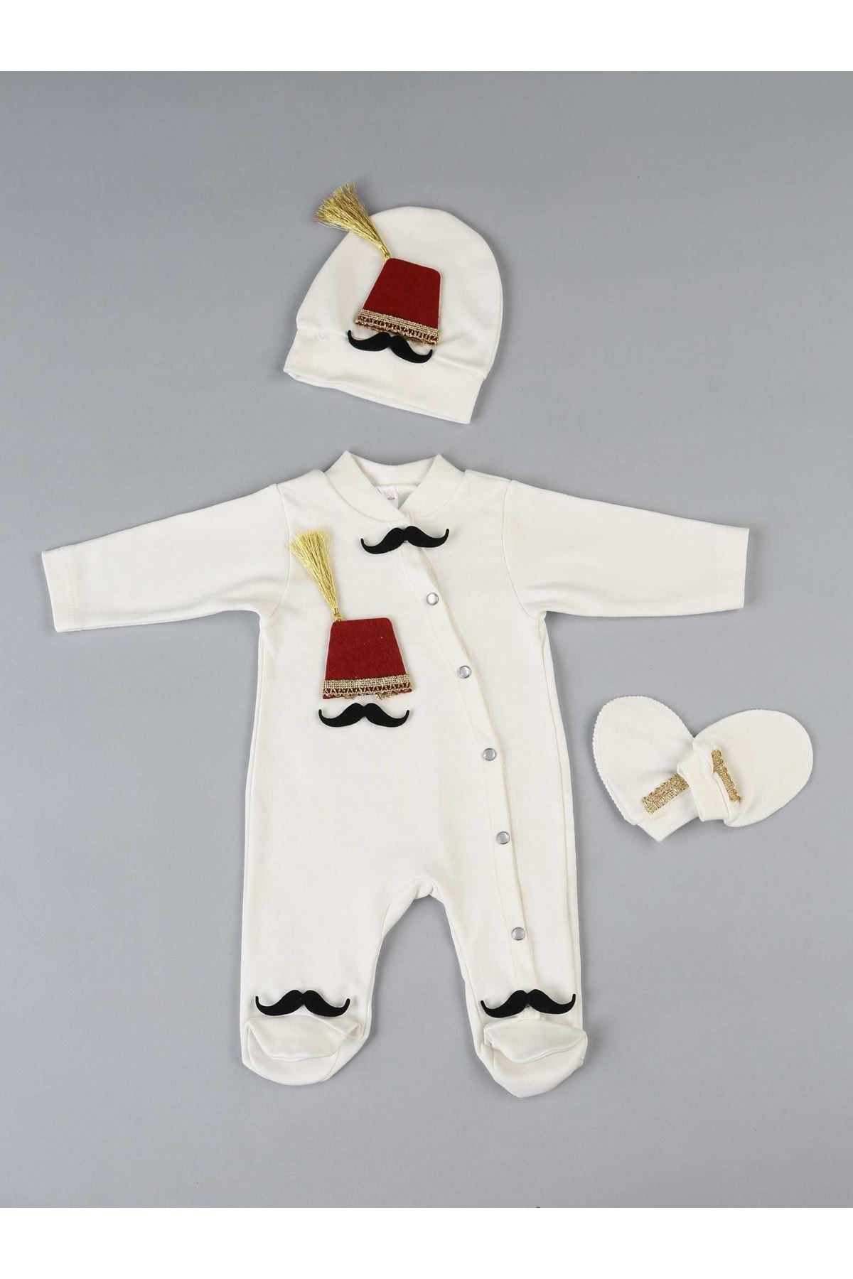 Beyaz Fesli  Erkek Bebek 3 lü Tulum seti