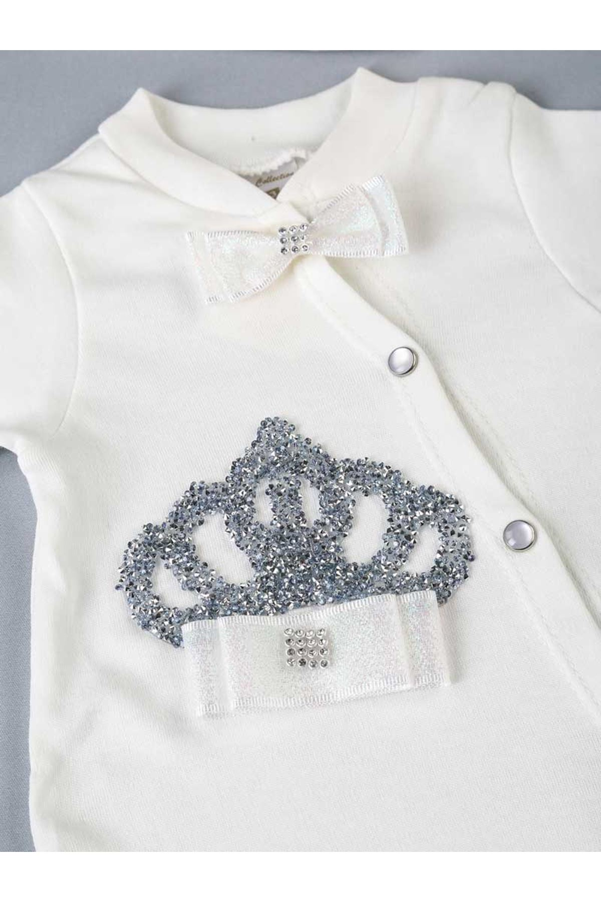 Beyaz Kraliçe Taçlı 3 lü Kız Bebek Tulum