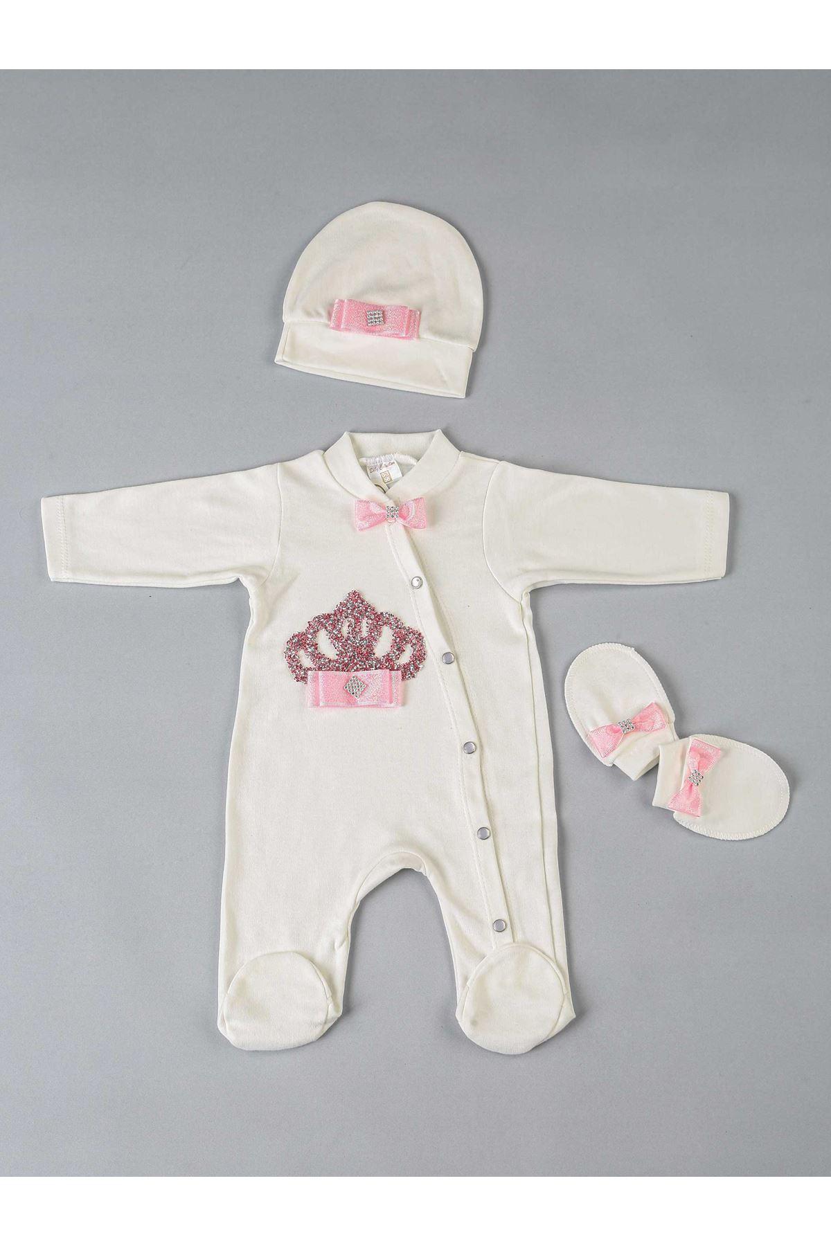 Fuşya Kraliçe Taçlı 3 lü Kız Bebek Tulum