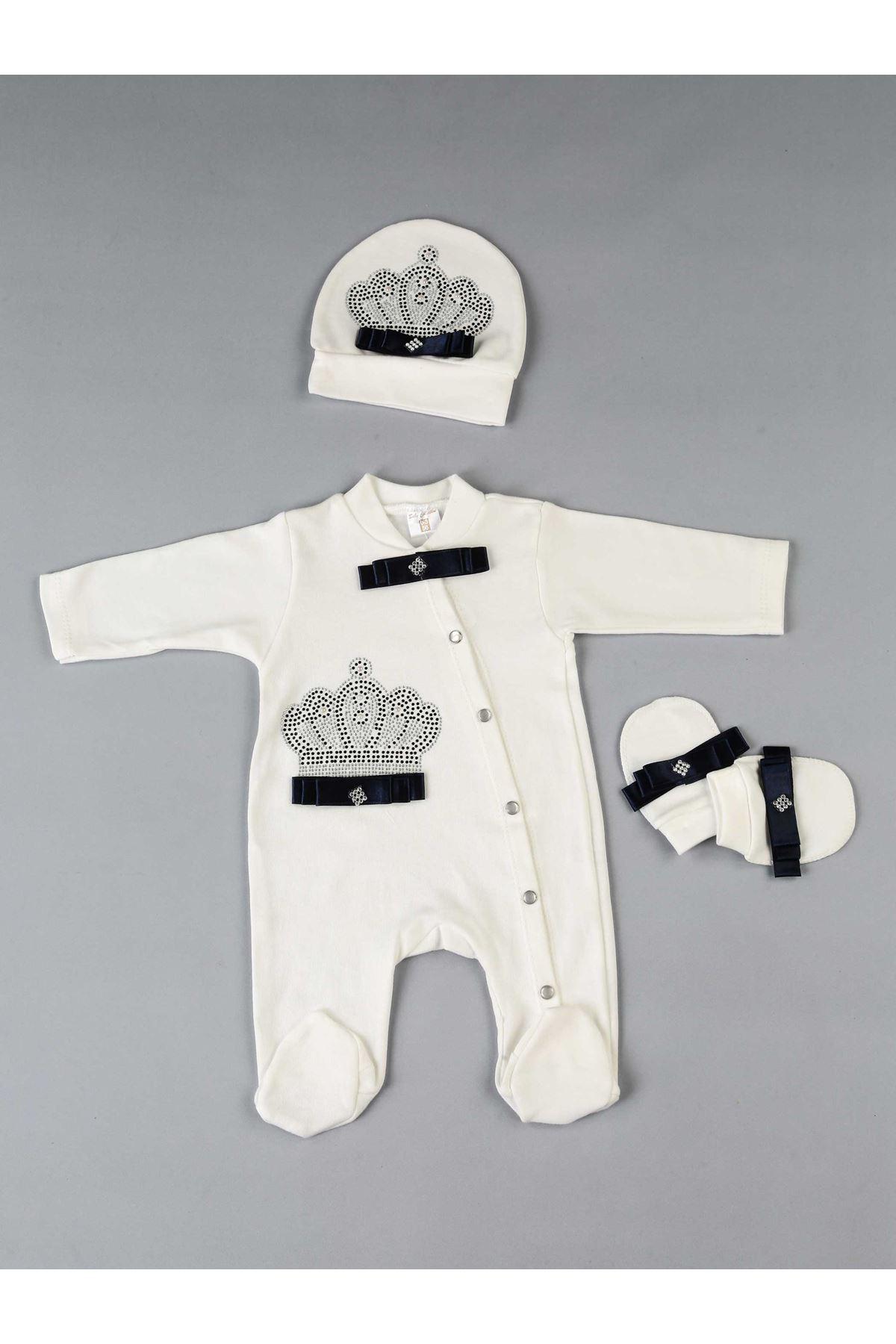 Lacivert Kral Taçlı 3 lü Erkek Bebek Tulum