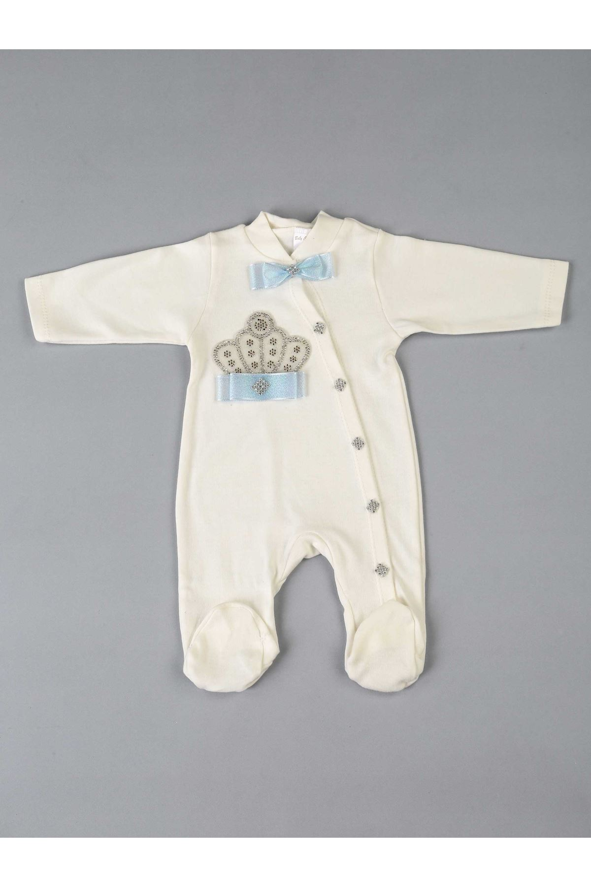 Mavi Kral Taçlı Erkek Bebek 5 li Tulum Seti