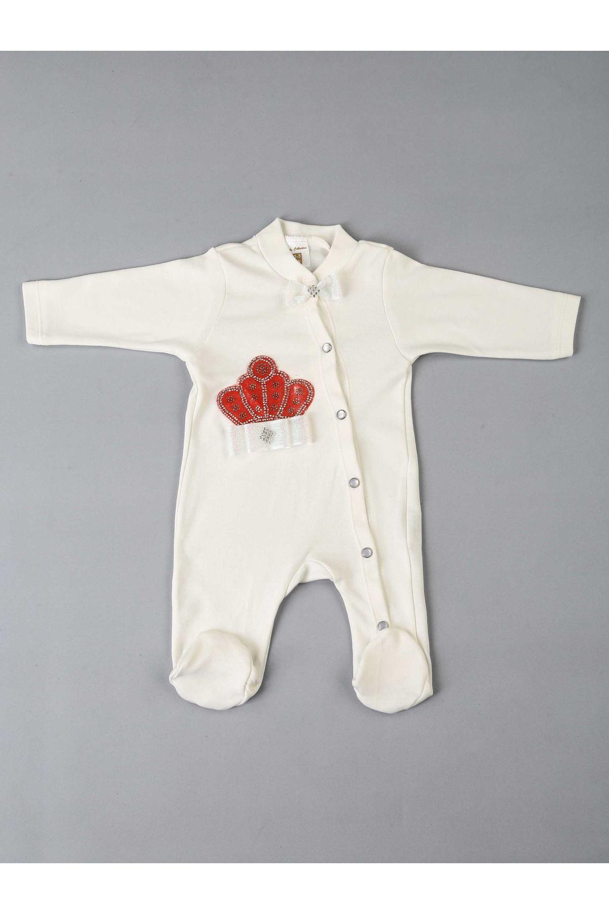 Kırmızı Kraliçe Taçlı 5 li Bebek Tulum
