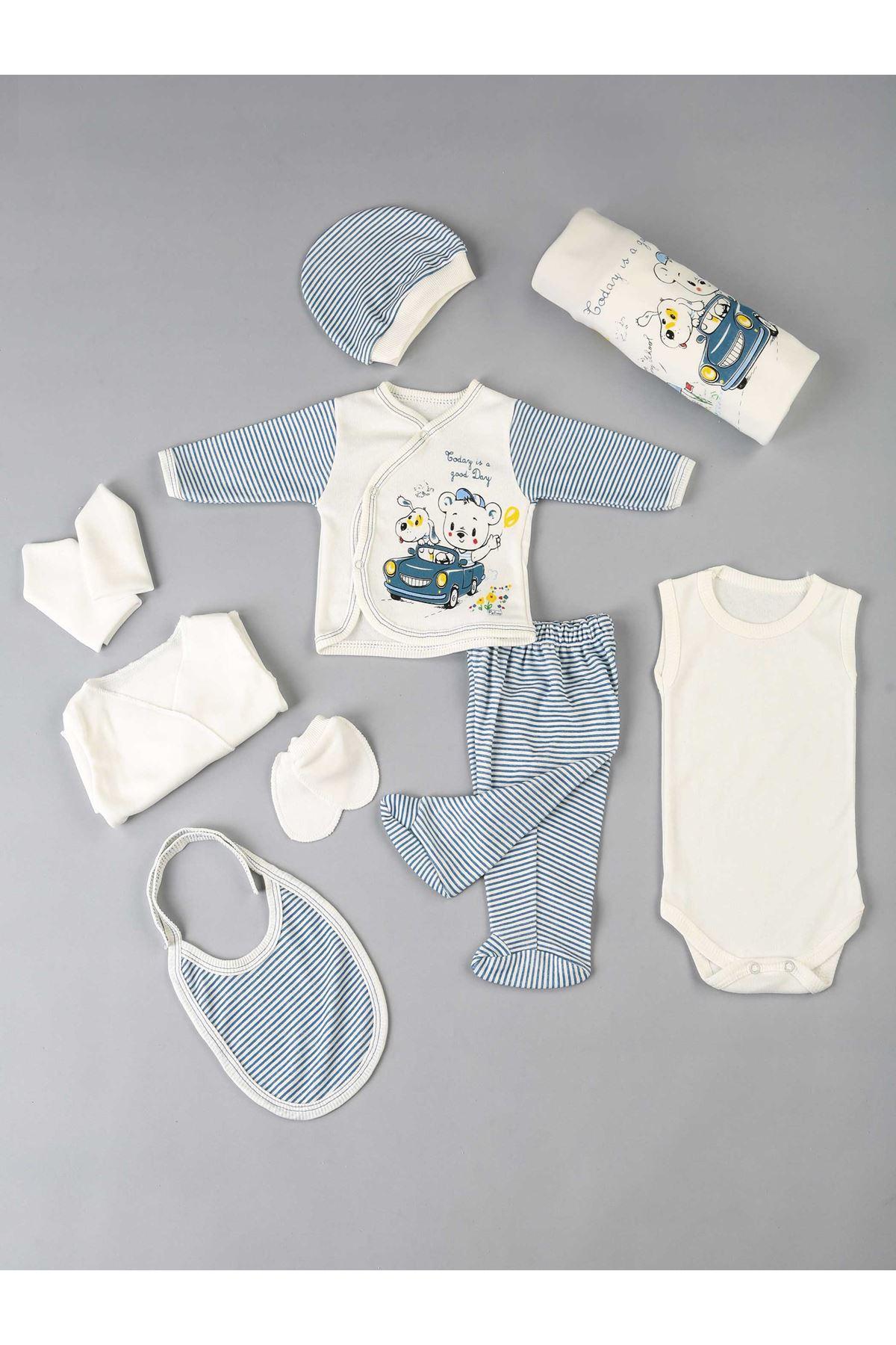 Mavi Yenidoğan Erkek Bebek 10 lu Hastane Çıkışı