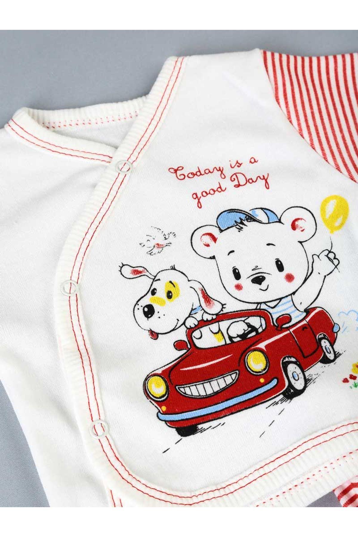 Kırmızı Yenidoğan Erkek Bebek 10 lu Hastane Çıkışı