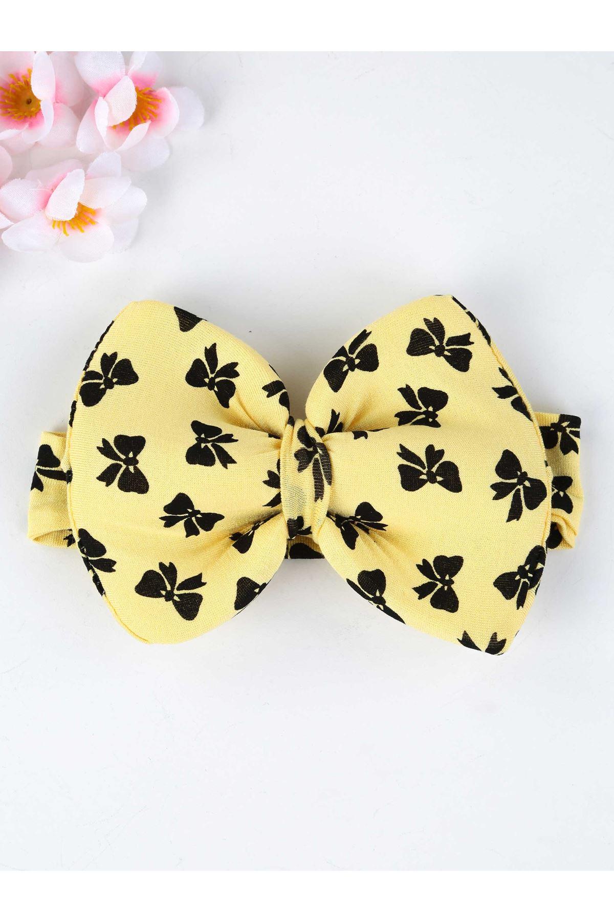 Sarı Fiyonklu Saç Bandı Kız Bebek Bandana