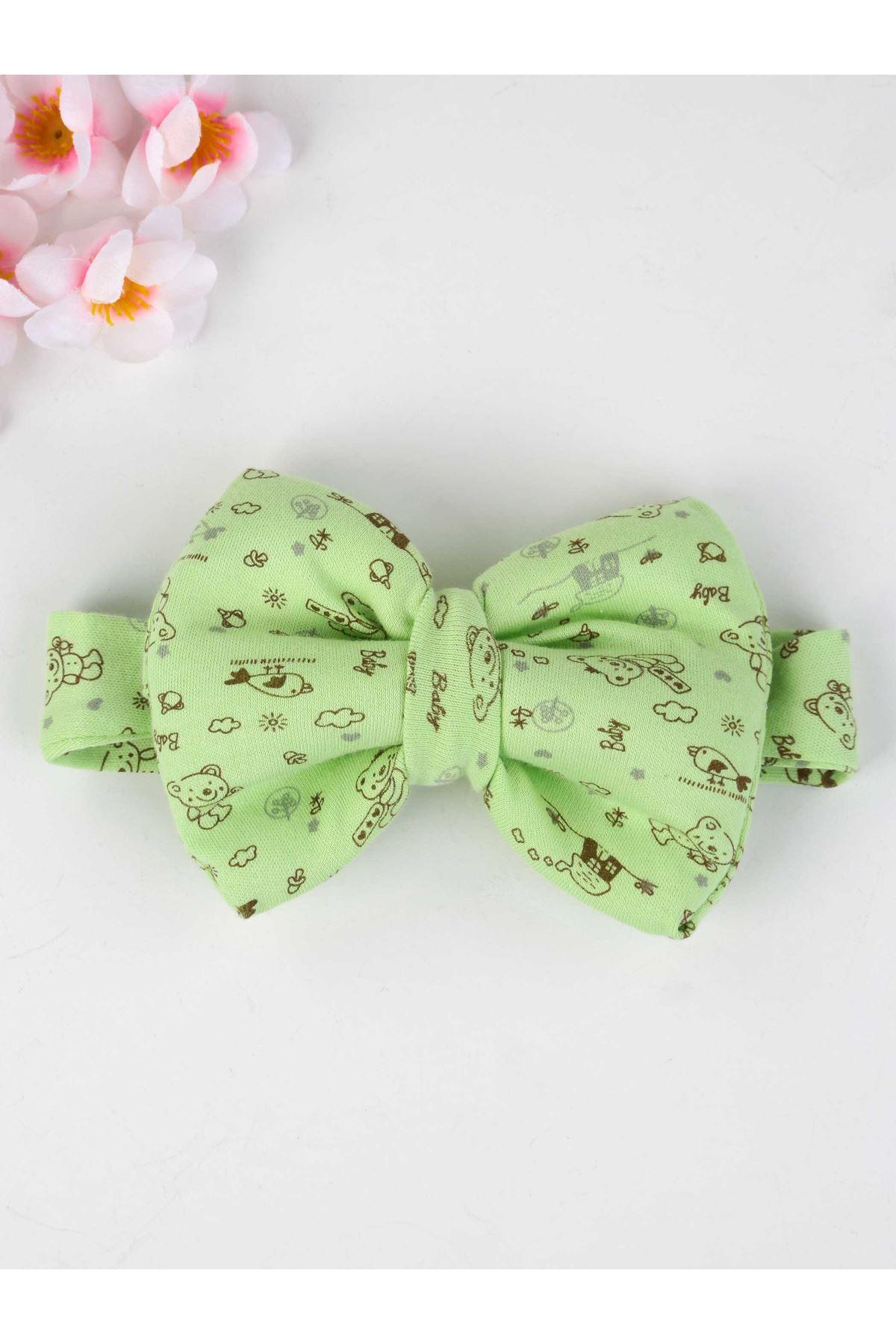 Yeşil Fiyonklu Saç Bandı Kız Bebek Bandana