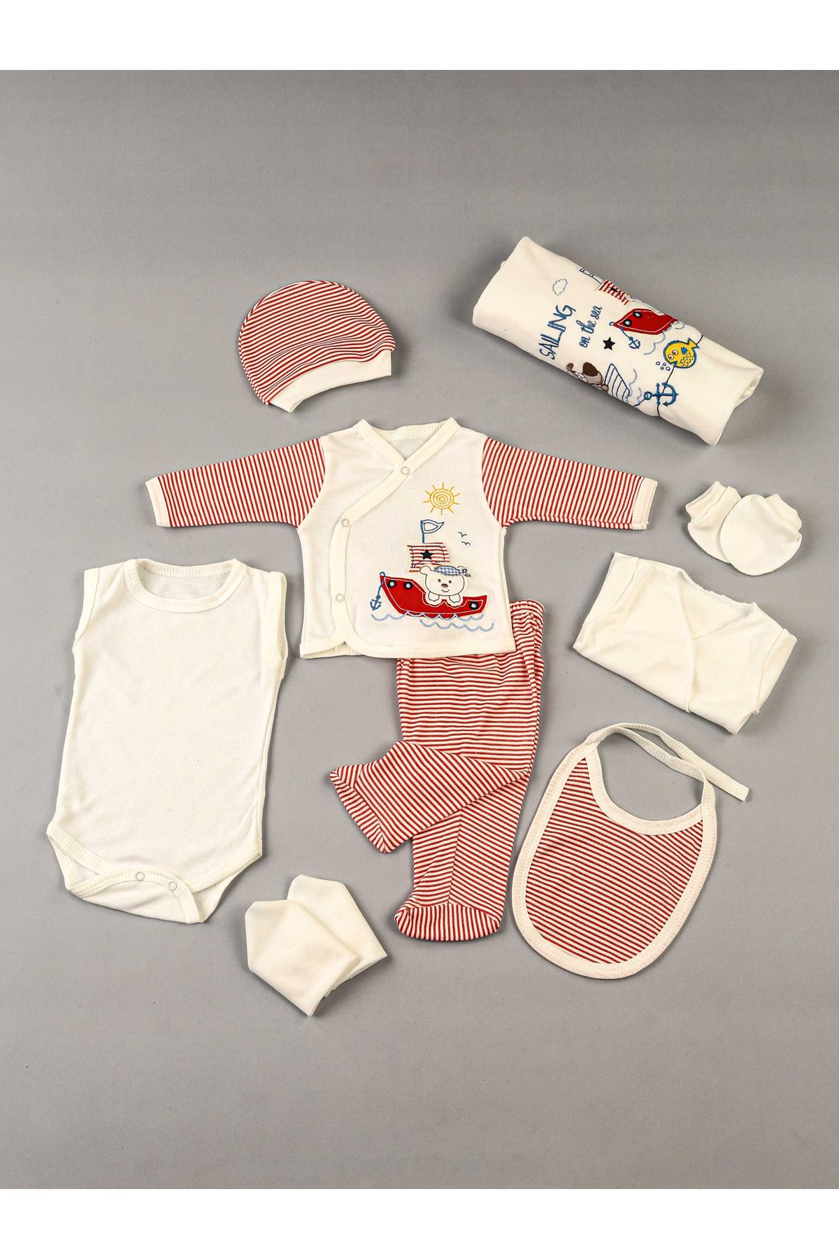 Red Newborn baby boy 10 piece suit set cotton hospital out daily casual Boys babies clothes style fashion models